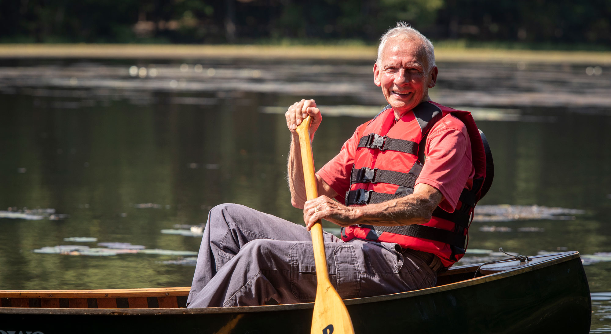 Independent Living Resident canoeing at Birch Hill, Manchester NH